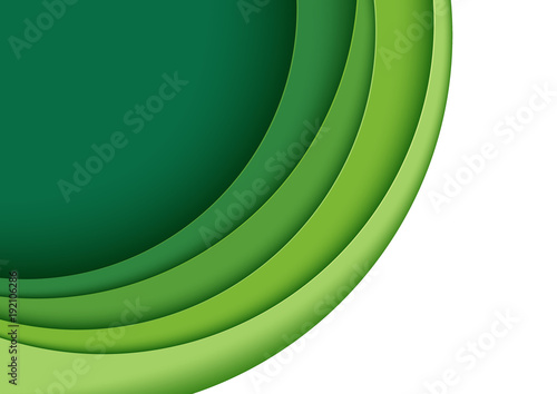 Photo Abstract green layers paper carve background