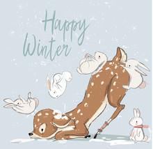 Cute Winter Deer With Hares