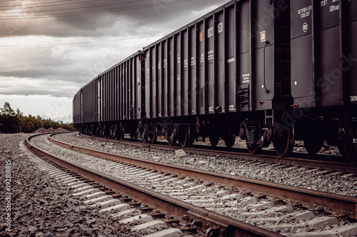 Fotografie, Obraz freight rail cars go on rails