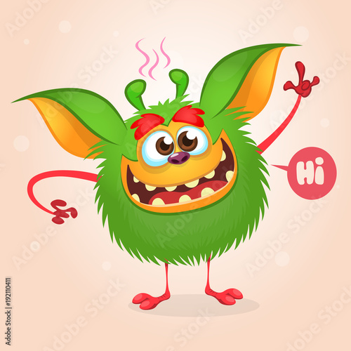 Photo  Happy green cartoon monster gremlin