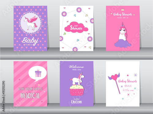 Cuadros en Lienzo Set of baby shower invitation cards,birthday cards,poster,template,greeting,card