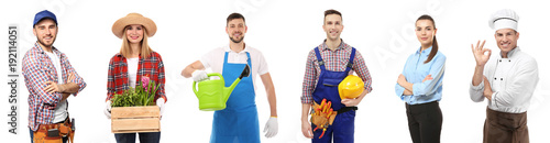 Fotografia, Obraz  Collage with owners of different small businesses on white background