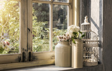 Romantic Decoration Vintage Style With Flower Watering Stainless And Steel Bird Cage At Window Antique Interior Design