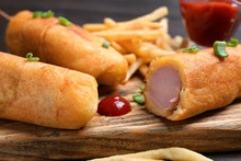 Tasty Corn Dogs With Ketchup, Closeup