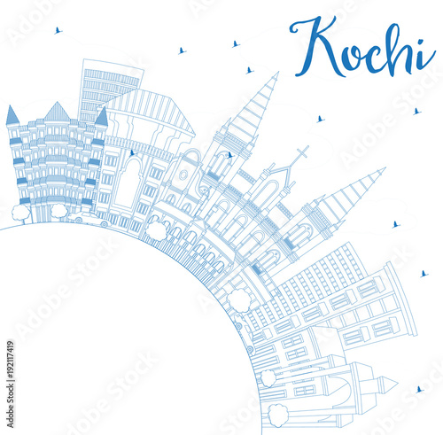 Staande foto Schilderingen Outline Kochi India City Skyline with Blue Buildings and Copy Space.