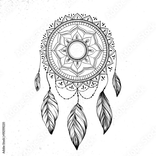 Foto auf AluDibond Boho-Stil Dreamcatcher with feathers and branches. Sweet dream. Native American Indian talisman. Vector hand drawn illustration isolated on white background. Boho design, tattoo art.
