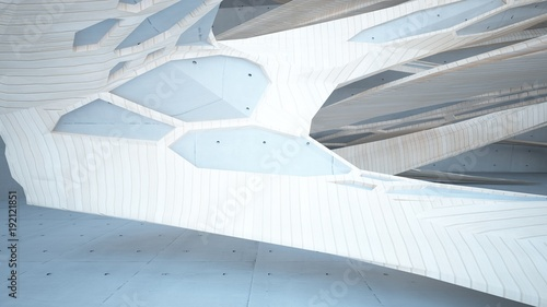 Foto op Plexiglas Trappen Abstract concrete and wood parametric interior with window. 3D illustration and rendering.