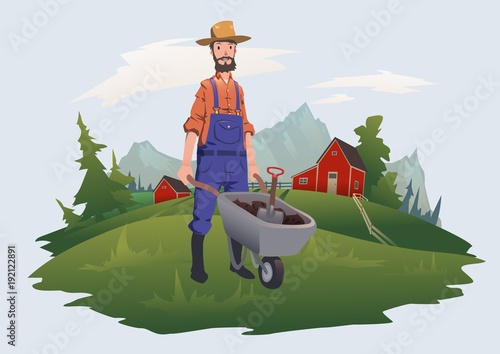 Fototapeta Farmer, man with wheelbarrow working on a farm in a mountain landscape