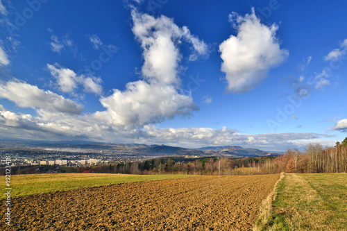 Foto op Aluminium Nachtblauw View over the town of Nowy Sacz and Beskidy mountains. Voivodeship Lesser Poland.