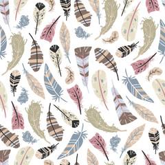 Panel Szklany Do pokoju dziewczyny Tribal Feathers Vector Seamless pattern