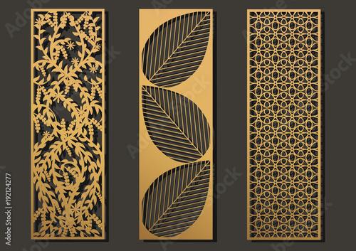 Laser cut template panels set. Die cut geometric pattern rectangle ...