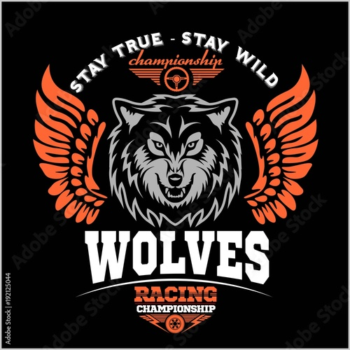 Wolf Biker And Wings On Dark Background Buy This Stock Vector And