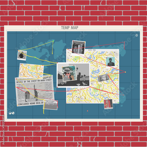 Poster Imagination Wall With Crime Map Concept