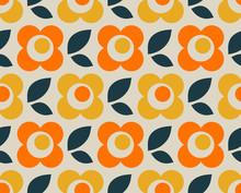 Seamless Retro Pattern With Fl...