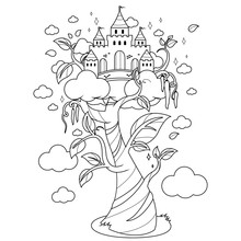 Magic Beanstalk And Castle. Black And White Coloring Book Page
