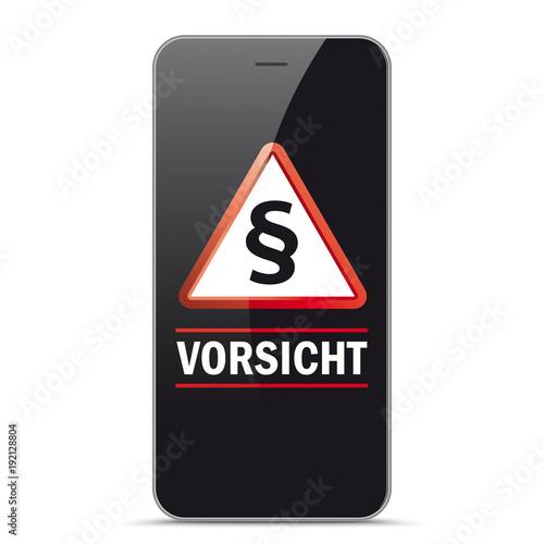 Fotografia  Smartphone Warndreieck mit Paragraf Vorsicht