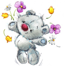 Cute Teddy Bear. Watercolor Il...