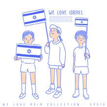 Boy And Girl Holding National Flag : Vector Illustration