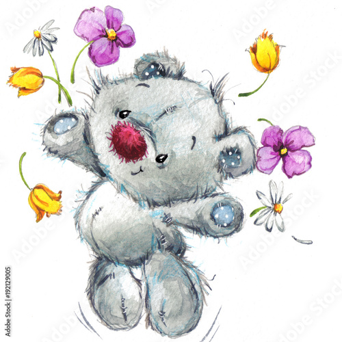 Cuadros en Lienzo Cute teddy bear. watercolor illustration for greeting card.