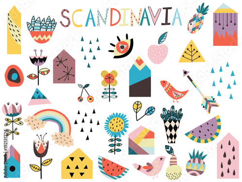 Fotografija  Set of cute scandinavian style elements