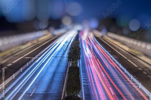 In de dag Tunnel Car traffic at night. blur motion.