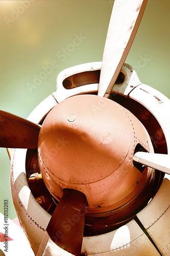 Fotografia, Obraz  Closeup of an old airplane turboprop engine with propeller blades and parts of a