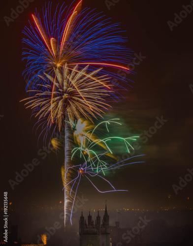 Keuken foto achterwand Nasa New Year's Day Fireworks in Cardiff, United Kingdom