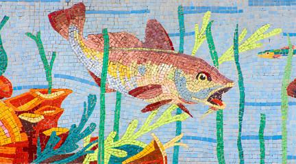Panel Szklany Mozaika Poissons art déco en mosaïque
