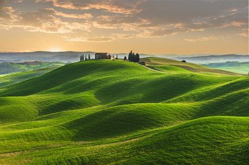 Spring in the fields of Tuscany in the sunset