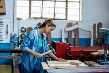 Female Carpenter Using A Hammer