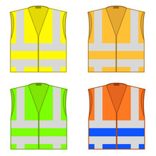 Colorful Safety Jackets. Protective Workwear For Work. Road Vests With Stripes. Professional High-visibility Clothes