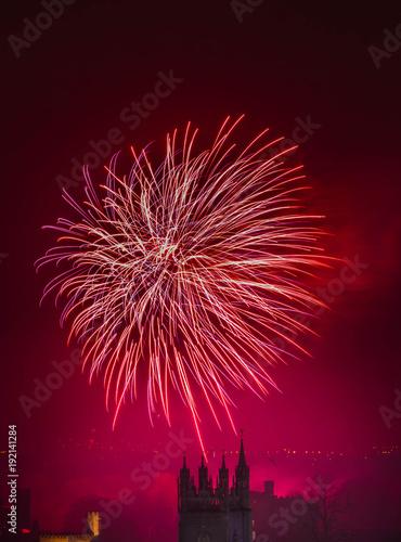 Poster Pleine lune New Year's Day Fireworks in Cardiff, United Kingdom
