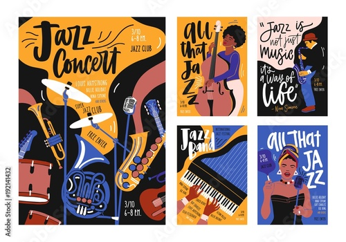 Photo  Collection of poster, placard and flyer templates for jazz music festival, concert, event with musical instruments, musicians and singers