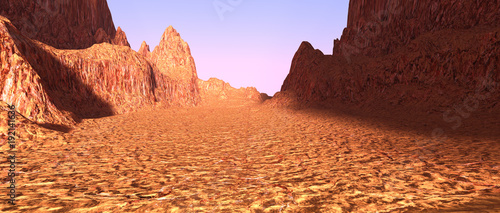 Spoed Foto op Canvas Koraal 3D Rendering Canyon Valley