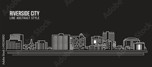 Cityscape Building Line art Vector Illustration design -riverside city californi Fototapet