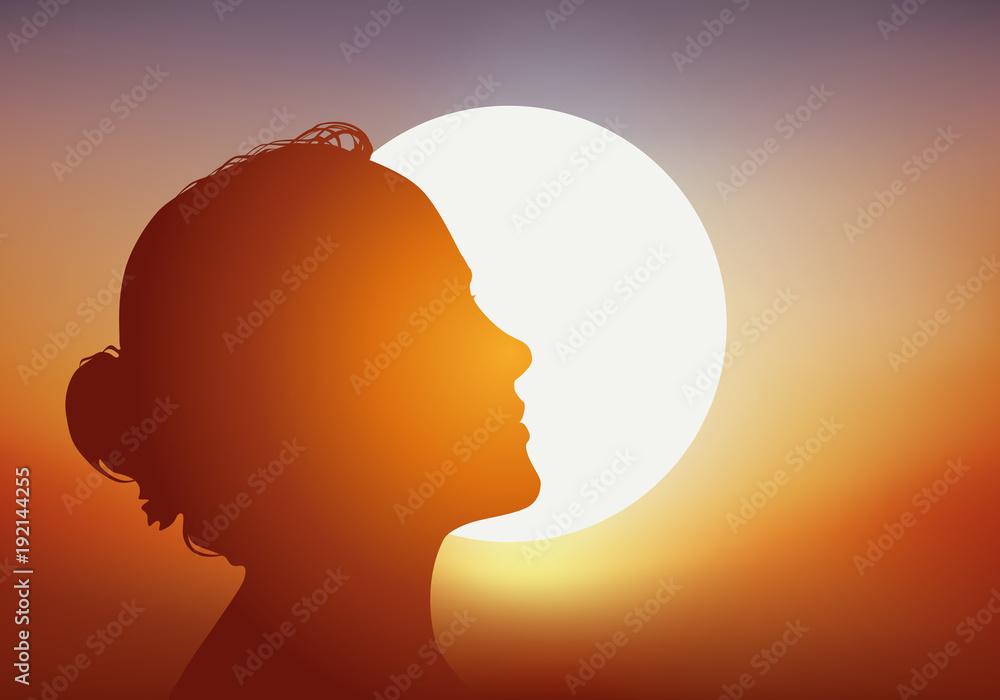 Fototapeta femme - soleil - profil - bronzage - bronzer - beauté - été - vacances - silhouette - coucher de soleil