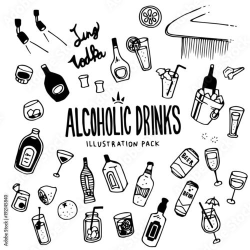 Fotografiet  Alcoholic Illustration Pack