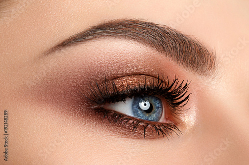 Close up of woman eye with smokey eyes makeup