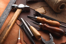 Set Of Leather Craft Tools On ...