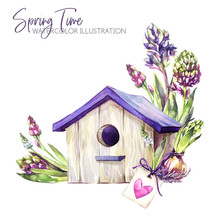 Watercolor Illustration. Birdhouse With Hyacinth Seedlings And Tag. Rustic Objects. Spring Collection In Violet Shades. ClipArt, DIY, Scrapbooking Elements. Holidays, Wedding Decoration.