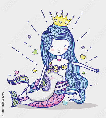 Photographie  Little mermaid with unicorn art cartoon