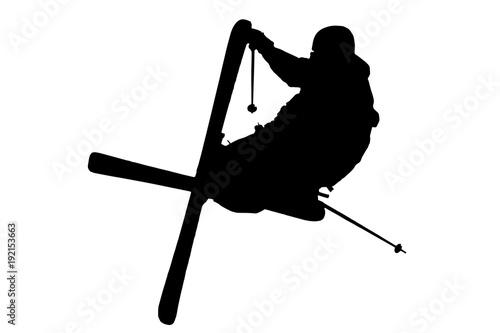 jumping slopestyle skier - vector Fototapet