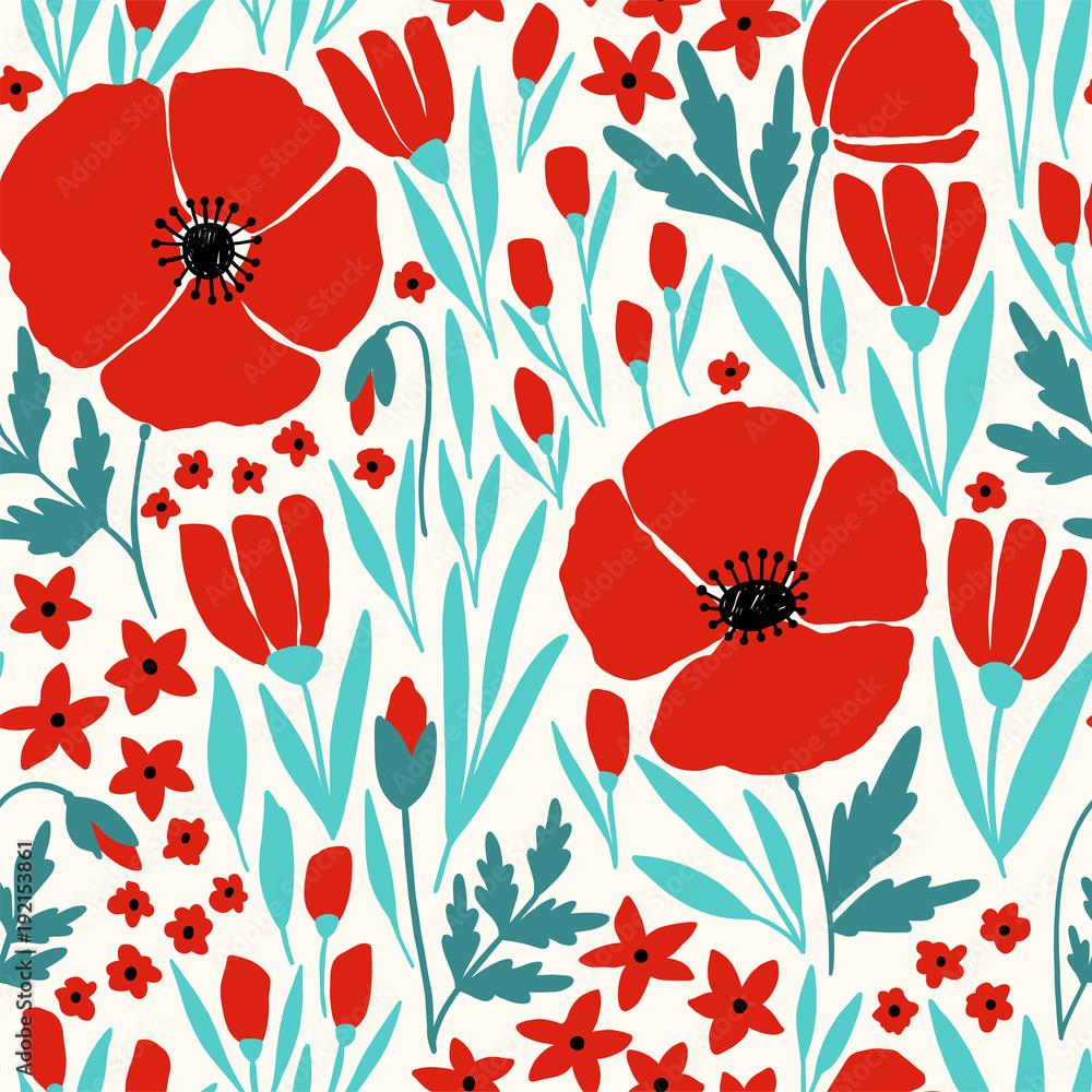 Seamless pattern with red poppy flowers - obrazy, fototapety, plakaty
