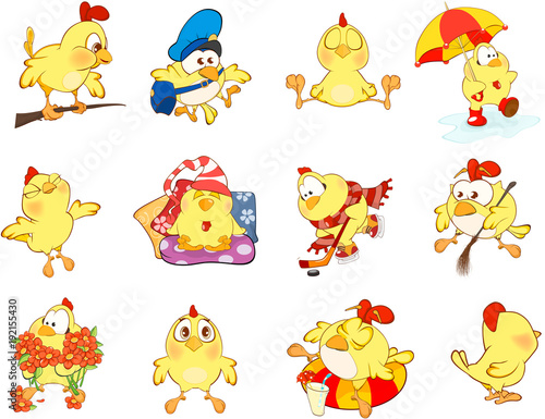 Canvas Prints Baby room Set of Cute Chickens in Different Poses for you Design. Cartoon Character