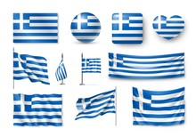 Set Greece Flags, Banners, Banners, Symbols, Flat Icon. Vector Illustration Of Collection Of National Symbols On Various Objects And State Signs