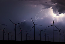Storm Night Over Wind Farm. En...