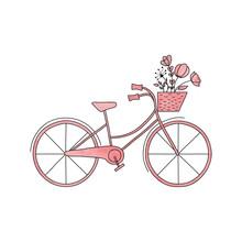 Watercolor Pink Vector  Bike W...