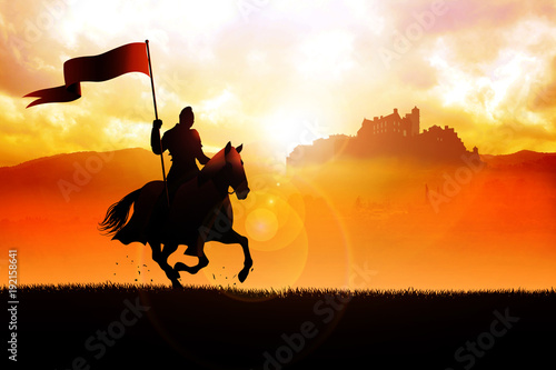 Cuadros en Lienzo Medieval knight on horse carrying a flag