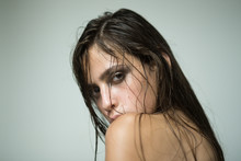 Woman With Wet Or Oily Hair On...
