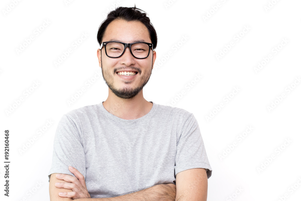 Fototapety, obrazy: Closeup portrait of happy asian man face, isolated on white background with copy space.
